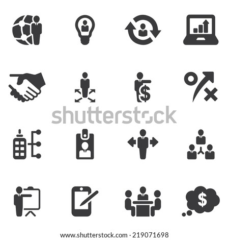 Management and Business Silhouette icons - stock vector