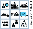 management and human resource icon set - stock vector
