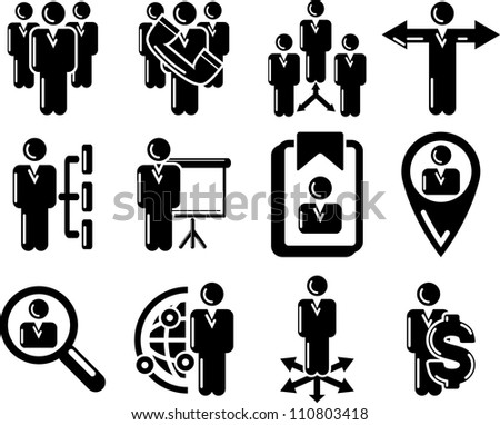 Management and human resource 12 icons - stock vector