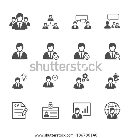 Management and Human Resource Icons - stock vector