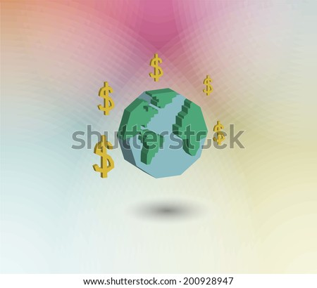 Management and Human Resource Icons,globe and money