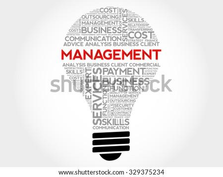 Management bulb word cloud, business concept - stock vector