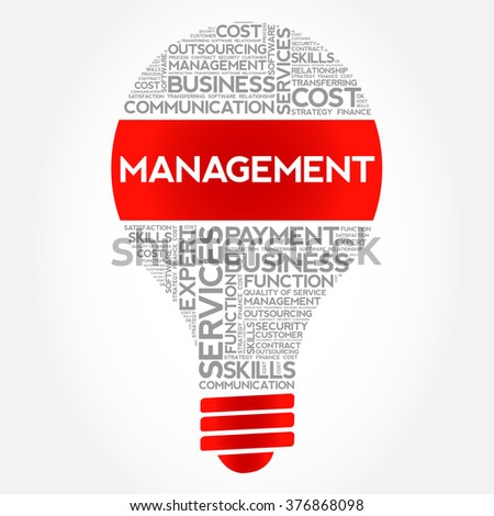 Management bulb word cloud, business concept - stock vector