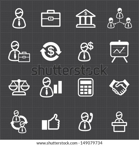 Management business icons and black background - stock vector