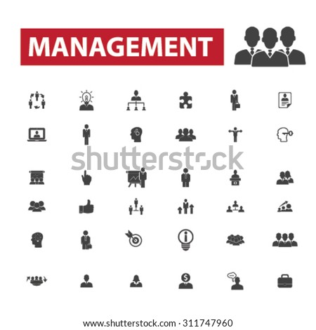 management, business organization, team, business people black isolated concept icons, illustrations set. Flat design vector for web, infographics, apps, mobile phone servces  - stock vector