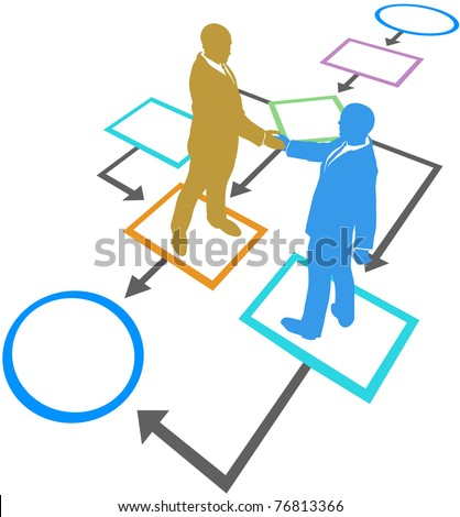 Management business people silhouettes handshake agreement in flowchart process - stock vector