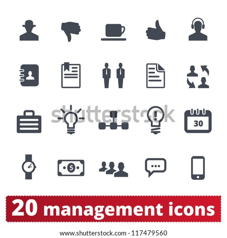 Management, bussines, human resources and users: vector icons set - stock vector