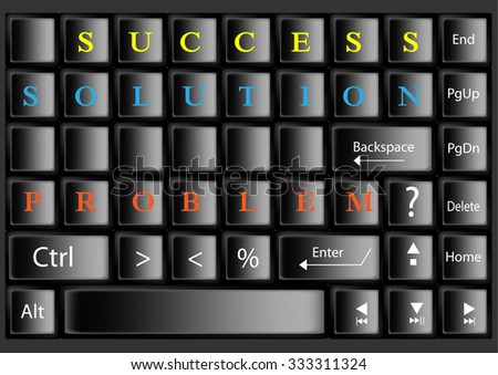 Management concept , Problem, Solution,Success world design on black key board,vector illustration