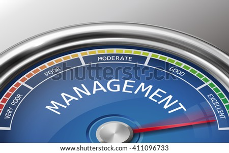 management conceptual 3d illustration meter indicator isolated on grey background