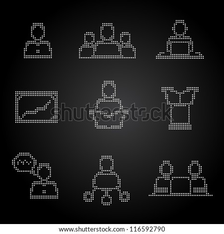 Management Conference and the icon set of points - stock vector