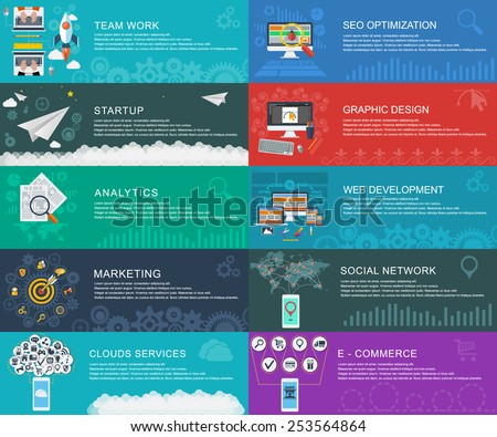 Management digital marketing srart up planning analytics Global Social Network clouds services e-commerce web developmeny seo optimization graphic design and development launch Vector infographic - stock vector
