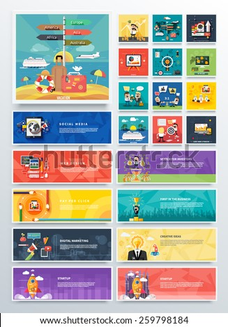 Management digital marketing srartup and analytics and development launch. Banners for websites. Icons for web design analytics graphic design and pay per click internet advertising in flat design - stock vector