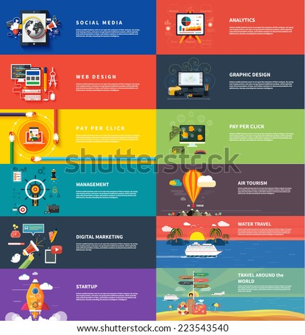 Management digital marketing srartup planning analytics design pay per click seo social media traveling tourism and development launch. Banners for websites flar design style - stock vector