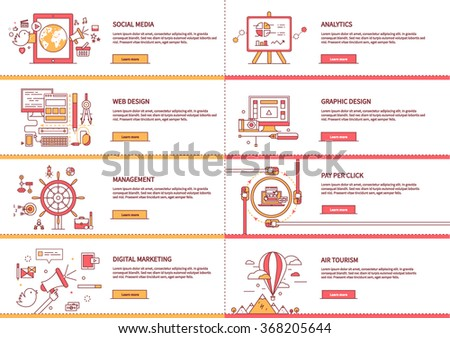Management digital marketing startup planning analytics design pay per click seo social media traveling tourism and development launch. Banners for websites flat design style. Infographic text. Market - stock vector