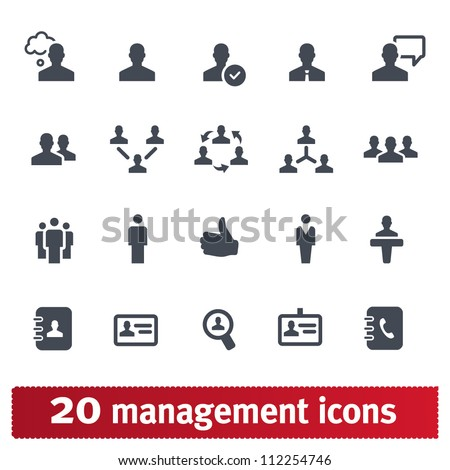 Management, human resources, business persons and users. Vector icons set.