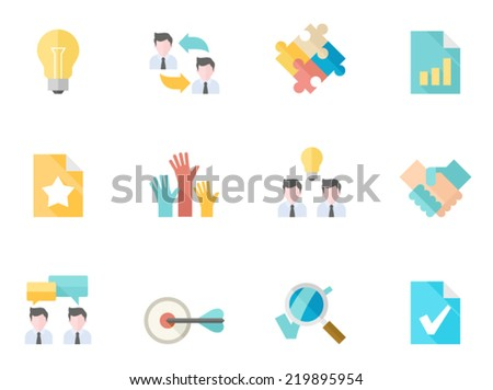 Management icon series in flat colors style.  - stock vector