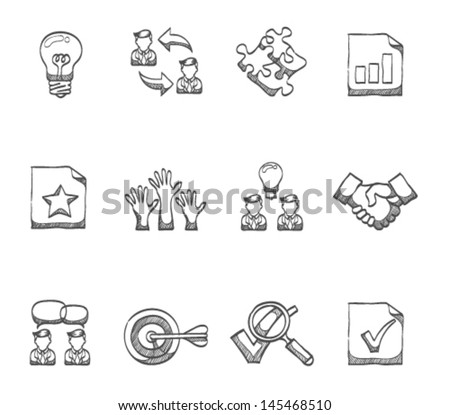 Management icon series  in sketch - stock vector