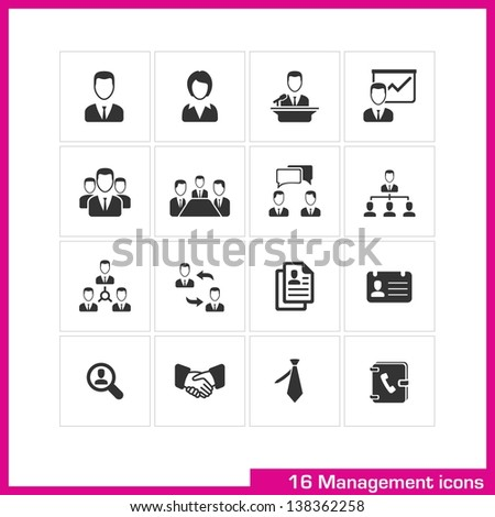 Management icon set. Vector black pictograms for web, and mobile app, internet, interface design: avatar, male, female, user, speaker, presentation, team, group, profile, human resources, tie symbol - stock vector