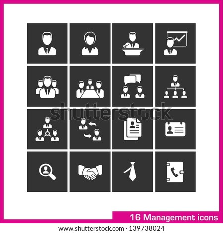 Management icon set. Vector white pictograms for web, and mobile app, internet, interface design: avatar, male, female, user, speaker, presentation, team, group, profile, human resources, tie symbol  - stock vector