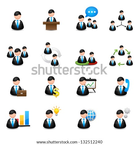 management icons set - stock vector
