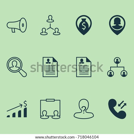 Management Icons Set. Collection Of Curriculum Vitae, Female Pin, Navigation And Other Elements. Also Includes Symbols Such As Pin, Dollar, Male.