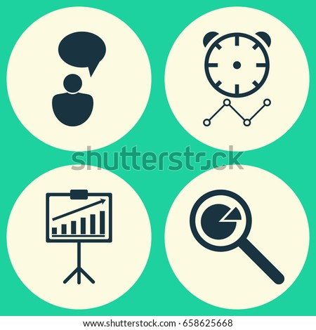 Set Project Management Icons On Task Stock Vector