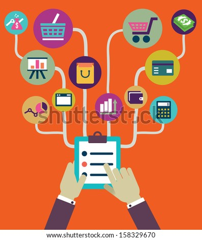 Management of business and payment. Flat style - vector illustration - stock vector