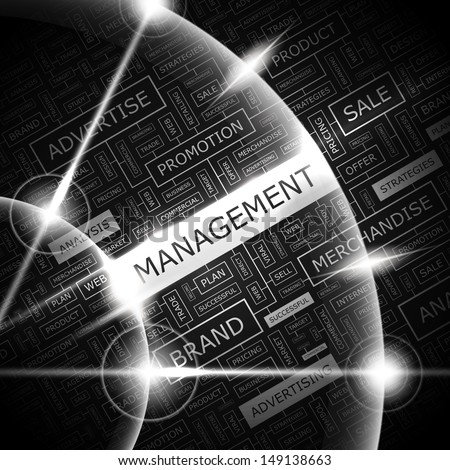 MANAGEMENT. Word cloud illustration. Tag cloud concept collage. Vector text illustration.