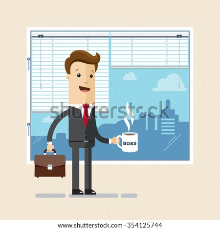 Manager, boss, clerk. Employee of office with a cup in hand. Illustration, vector EPS10. - stock vector