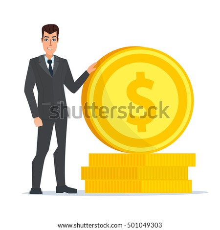 Manager character with gold coin in hand. Manager character smiling and holding gold coin in hand. Vector illustration isolated on white background in flat style.