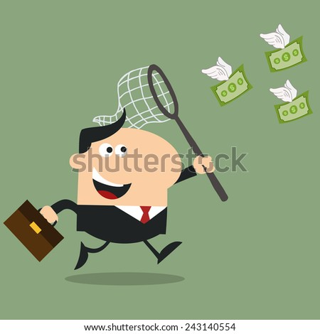 Manager Chasing Flying Money With A Net.Flat Design Style Vector Illustration - stock vector