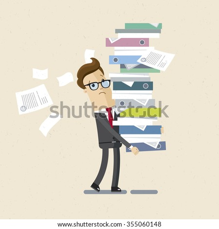 Manager, clerk, office woker. A man drags a big pile of documents. Illustration, vector EPS10. - stock vector