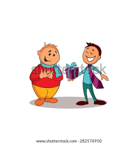 Manager consultant presenting a gift to the client. One of a series of similar images. - stock vector