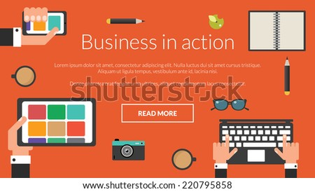 Manager desk with laptop, tablet and smartphone. Vector concept for online advertising  - stock vector