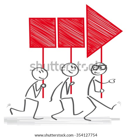 Manager directs group of employees - stock vector