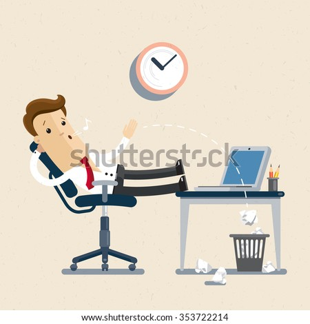 Manager. employee, clerk, office worker. A manager sits in the chair, his feet on the table, whistling and idling. Flat, illustration, Vector EPS10. - stock vector
