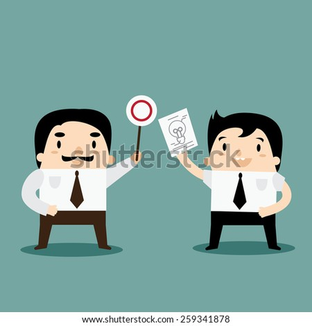 Manager Feel Good with Idea from Business Man - stock vector
