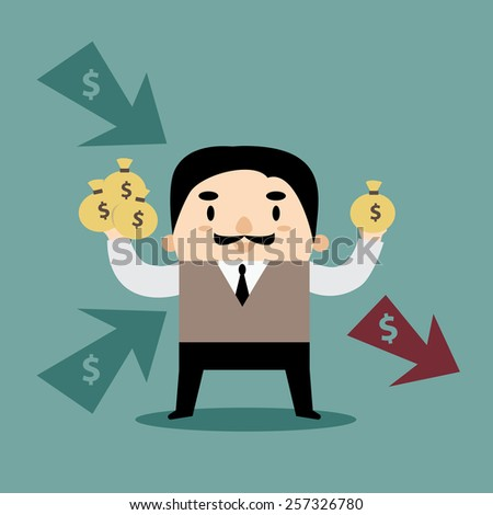 Manager Multi Incomes and Expense Personal Finance - stock vector