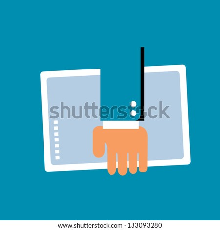 manager on the go, tablet in hand - stock vector