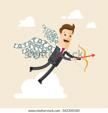 Manager or bisnessman.  A man in a suit with wings made of money behind his back.  Illustration, vector, EPS 10. - stock vector