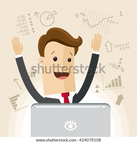 Manager or employee works at computer or laptop. Trading on the stock exchange. Flat, vector, illustration. - stock vector