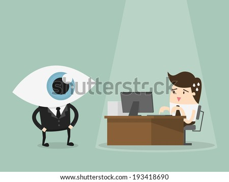 Manager overseeing businessman working on computer at the office - stock vector