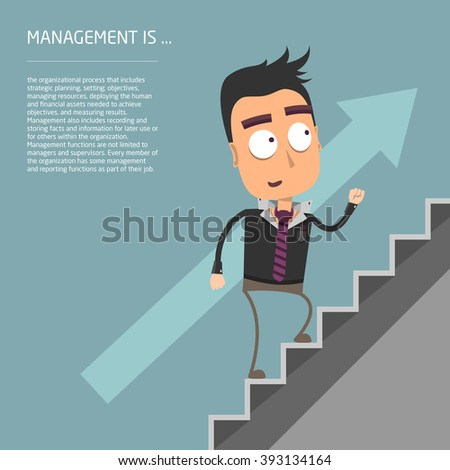 Manager running on the stairs, arrow level increases. vector