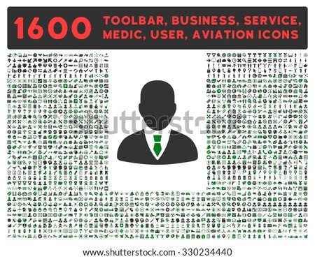 Manager vector icon and 1600 other business, service tools, medical care, software toolbar, web interface pictograms. Style is bicolor flat symbols, green and gray colors, rounded angles, white - stock vector