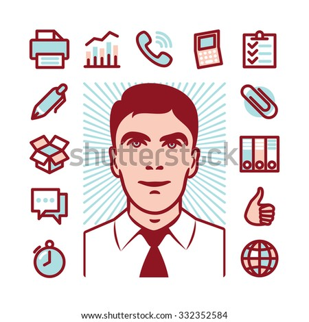 Manager with Fat Line Icons for web and mobile. Modern minimalistic flat design elements of career manager, office work, analyzing and calculating, time management and logistics - stock vector