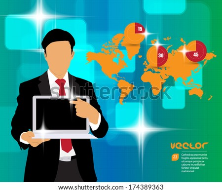 Manager with futuristic background. Vector