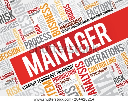 Manager word cloud, business concept - stock vector