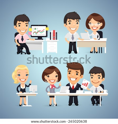 Managers Cartoon Characters at the Table Set. In the EPS file, each element is grouped separately. - stock vector