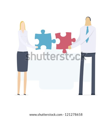 managers hold puzzles - stock vector