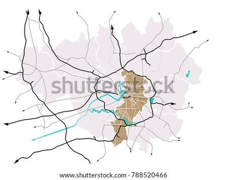 Manchester England Greater Manchester Roads Vector Stock Vector ...